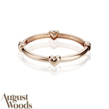 August Woods Rose Gold Hearts Bangle  - Click to view larger image