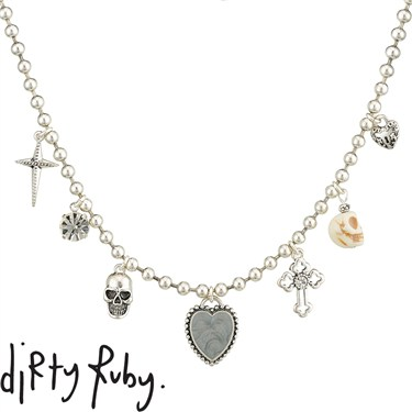 Dirty Ruby Silver Skull Cross Charm Necklace