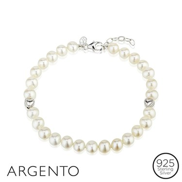 Argento Two Hearts Pearl Bracelet  - Click to view larger image