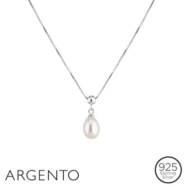 Argento Single Pearl Drop Necklace  - Click to view larger image