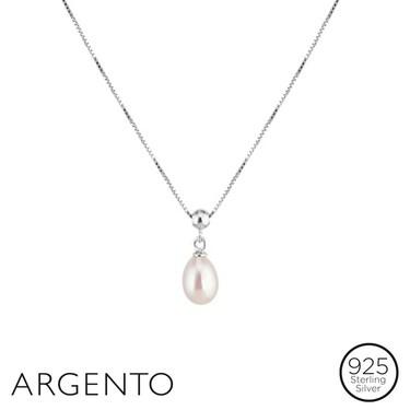 Argento Single Pearl Drop Necklace