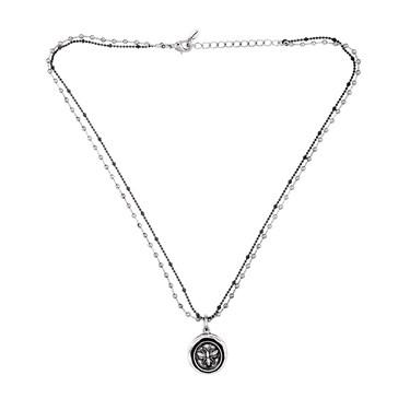 Karma Silver Bee Coin Necklace
