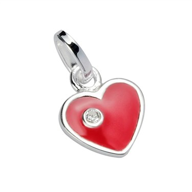 Argento Red Enamel Heart Charm