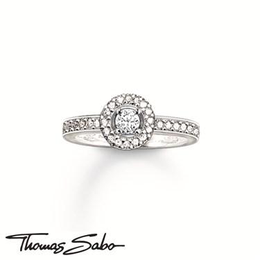 Thomas Sabo Silver Round Crystal Ring  - Click to view larger image