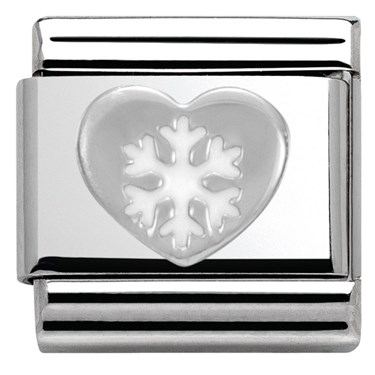 Nomination SilverShine Christmas Heart Charm  - Click to view larger image