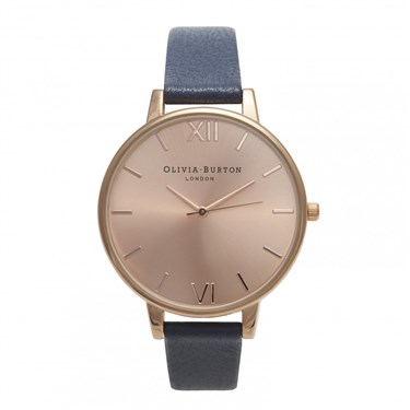 Olivia Burton Big Dial Navy & Rose Gold Watch  - Click to view larger image