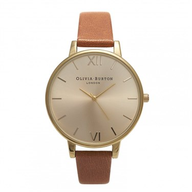 Olivia Burton Big Dial Tan & Gold Watch   - Click to view larger image