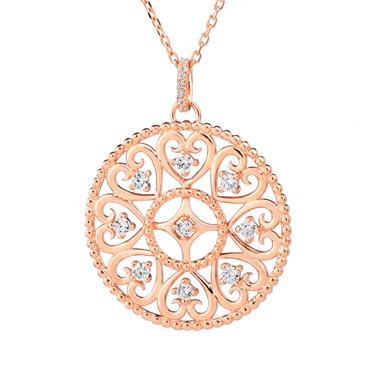 Argento Rose Gold Arabesque Disc Necklace  - Click to view larger image