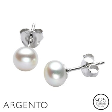 Argento White Pearl Stud 5.5-6mm  - Click to view larger image