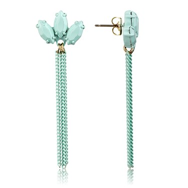 Dirty Ruby Mint Crystal Chain Drop Earrings