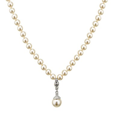 August Woods Drop Pearl Crystal Necklace