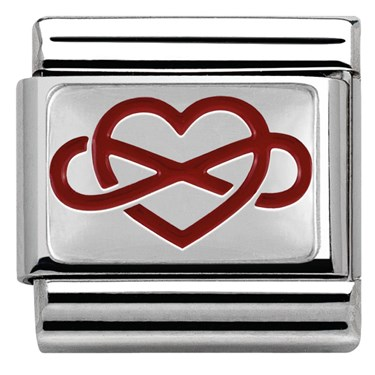 Nomination Red Infinity Heart Charm  - Click to view larger image