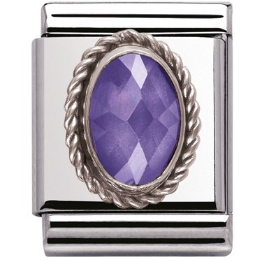 Nomination BIG Faceted Purple CZ Charm  - Click to view larger image