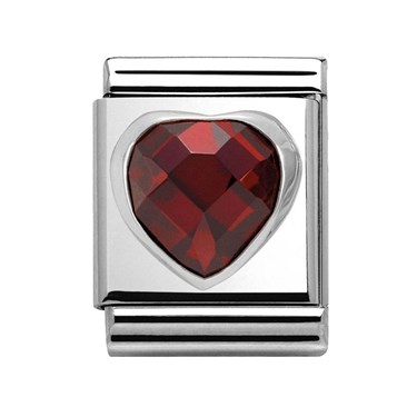 Nomination Big Red Crystal Heart Charm  - Click to view larger image
