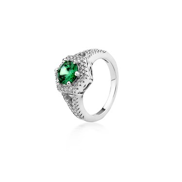 Argento Outlet Emerald Crystal Hexagon Ring