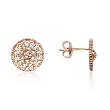 Argento Rose Gold Arabesque Disc Stud Earrings  - Click to view larger image