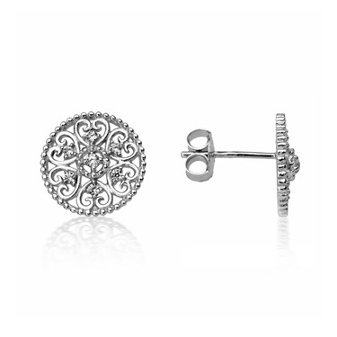 Argento Arabesque Disc Stud Earrings  - Click to view larger image