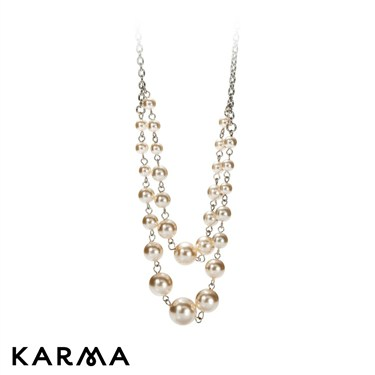 Karma Two Layer Faux Pearl Necklace