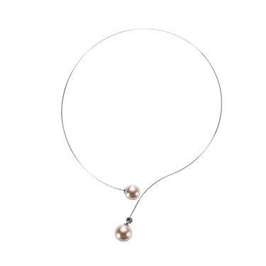 Karma Faux Pearl Wire Necklace