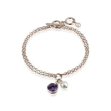 Argento Rose Gold Pearl CZ Bracelet
