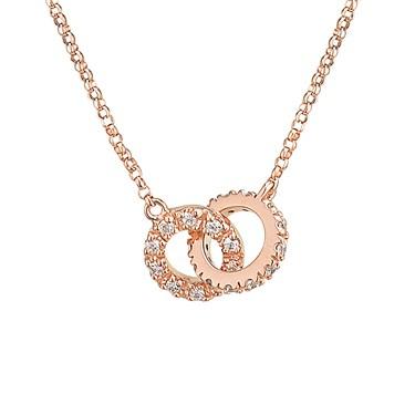 Argento Rose Gold CZ Link Necklace