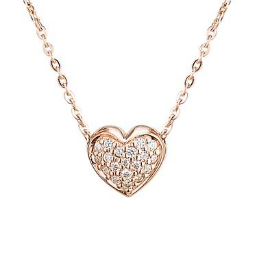 Argento Rose Gold Pavé Heart Necklace