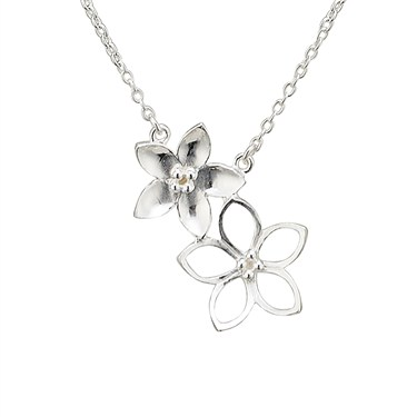 Argento Silver Double Flower Necklace