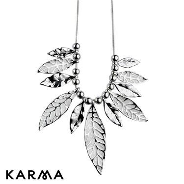 Karma Crystal Leaf Necklace