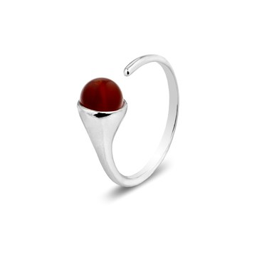 Argento January Birthstone Red Agate Ring