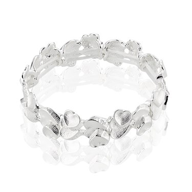 August Woods Outlet  Frosted Silver Hearts Bracelet