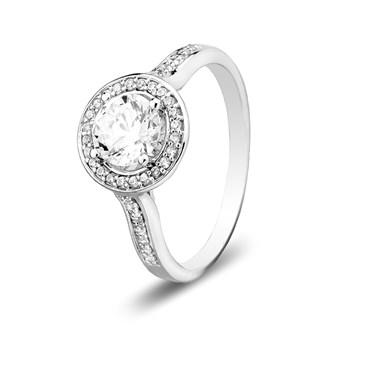 Argento CZ Halo Ring