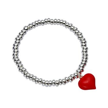 Argento Silver & Red Heart Bracelet