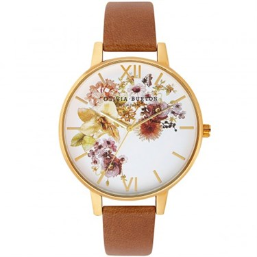Olivia Burton Flower Show Tan & Gold Watch  - Click to view larger image