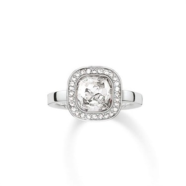 Thomas Sabo Silver Cz Square Ring  - Click to view larger image