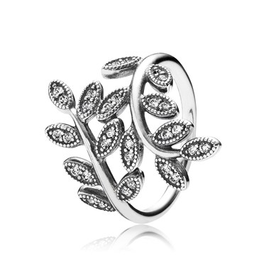 Pandora Sparkling Midnight Leaves Ring   - Click to view larger image