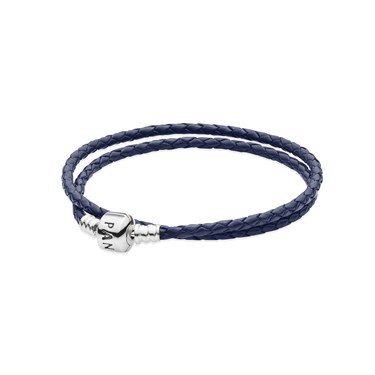 PANDORA Double Navy Leather Bracelet