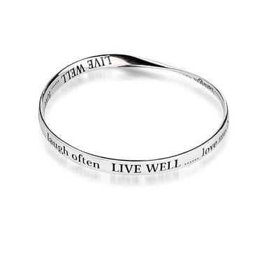 Affirmations Silver Live Well Affirmation Bracelet