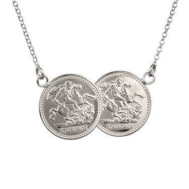 Argento Double Coin Necklace  - Click to view larger image