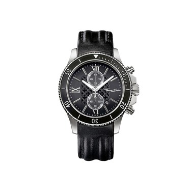 Thomas Sabo Black Leather Chrono Watch  - Click to view larger image