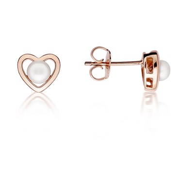 Argento Rose Gold Pearl Heart Earrings Click To View Larger Image