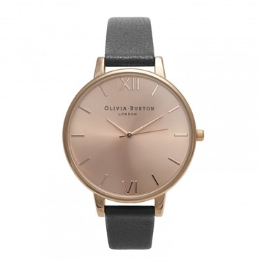 Olivia Burton Big Dial Black & Rose Gold Watch  - Click to view larger image