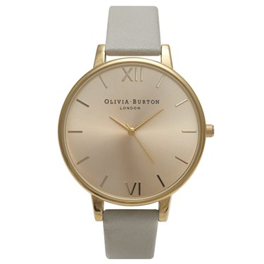 Olivia Burton Big Dial Grey and Gold Watch  - Click to view larger image