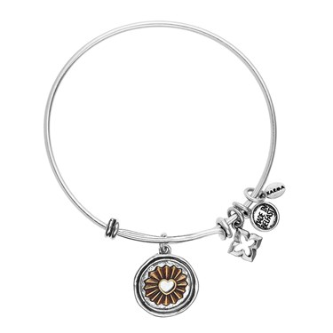 Karma Silver Heart Stamp Charm Bangle