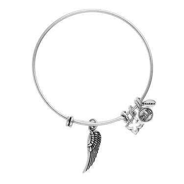 Karma Silver Wing Charm Bangle  - Click to view larger image