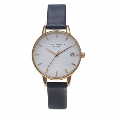 Olivia Burton Midi White Dial & Navy Watch  - Click to view larger image