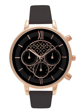 Olivia Burton Chronograph Black & Rose Watch  - Click to view larger image