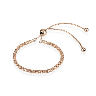 Argento Rose Gold Mesh Pull Friendship Bracelet  - Click to view larger image