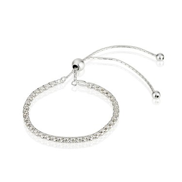 Argento Silver Mesh Pull Friendship Bracelet  - Click to view larger image