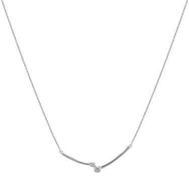 Argento Cubic Zirconia Simple Bar Necklace