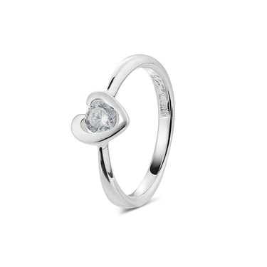 Argento Cubic Zirconia Heart Ring